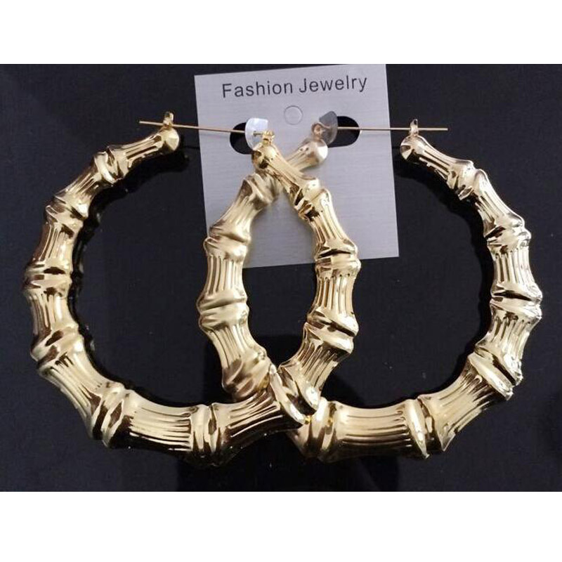 Fashion Exaggerated Gold Bamboo Hoop Earrings Personalized Simple Earring Designs For Women