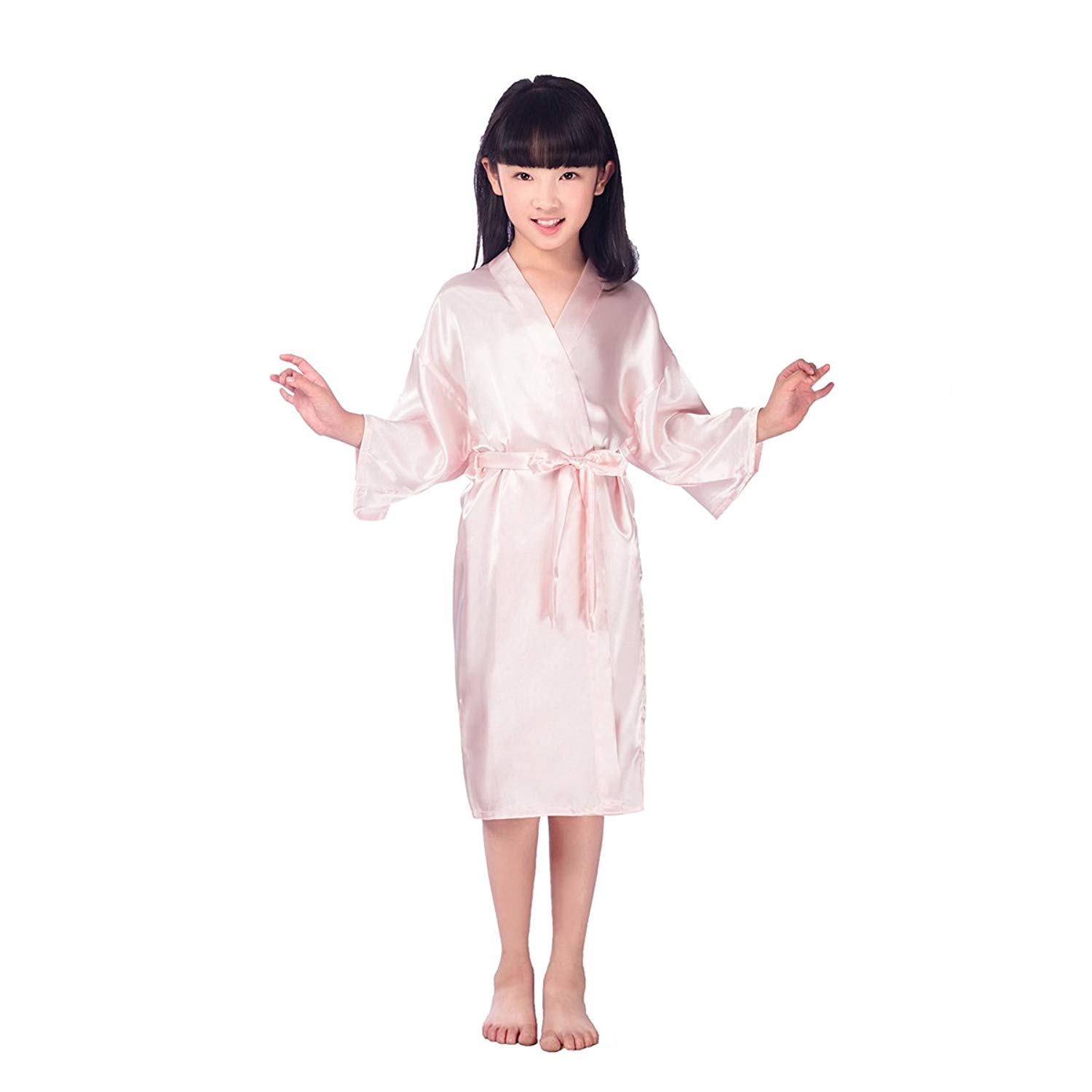 98a2f4bf46 Get Quotations · OULII Kids Robe Satin Kimono Bathrobe Nightgown For Spa  Party Wedding Birthday Size 14 (Pink