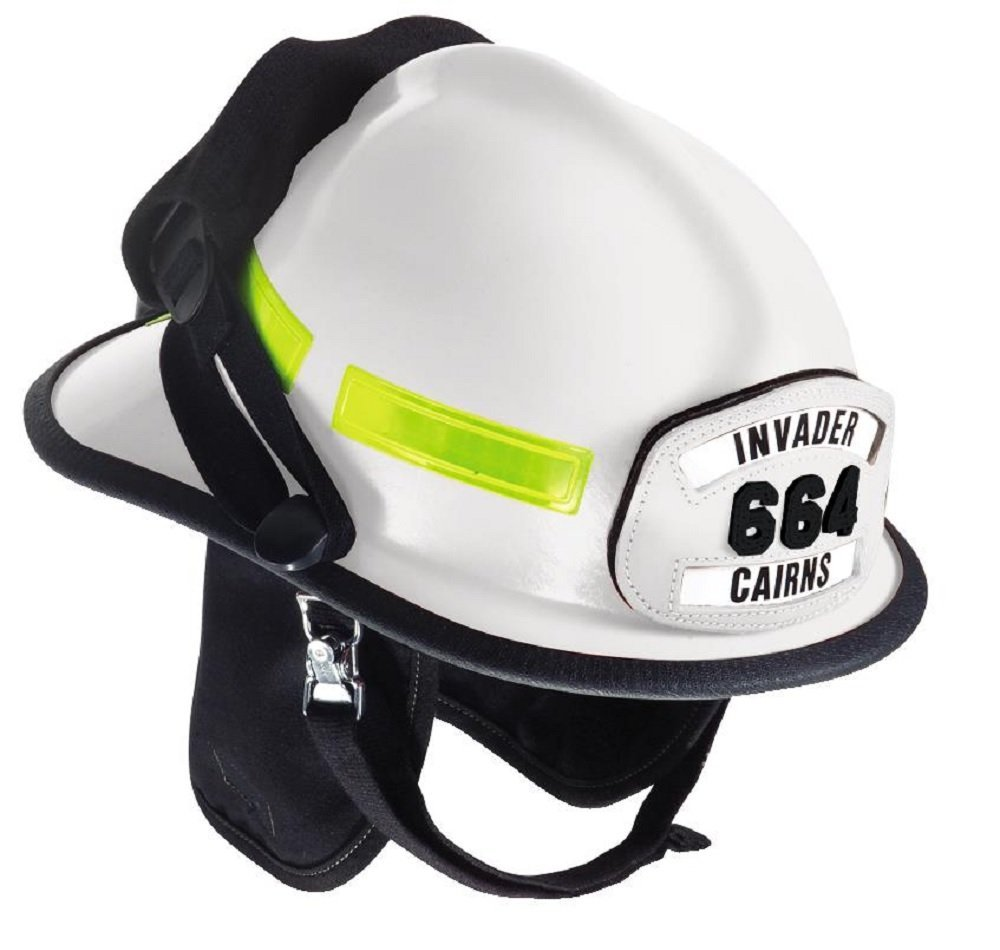 MSA Safety 664DSW Cairns Fire Helmet with Defender, Standard Flannel Liner, Nomex Earlap, Chinstrap with Quick Release, Postman Slide, Bar and Lime/Yellow Reflexite, White