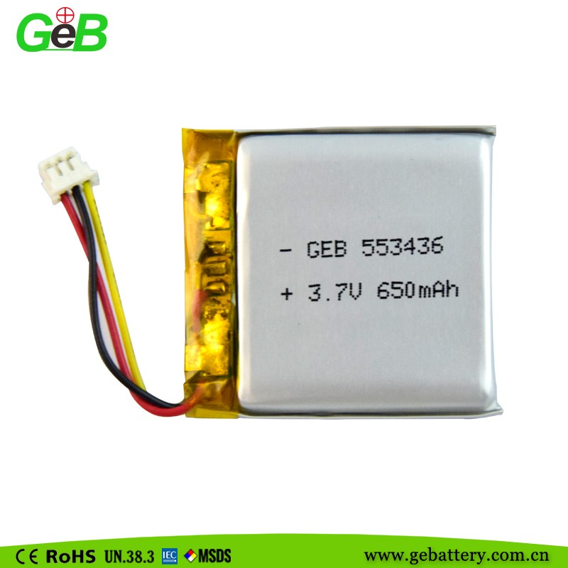 li-ion battery 3.7v 650mah li-polymer battery 553436 for smart watch