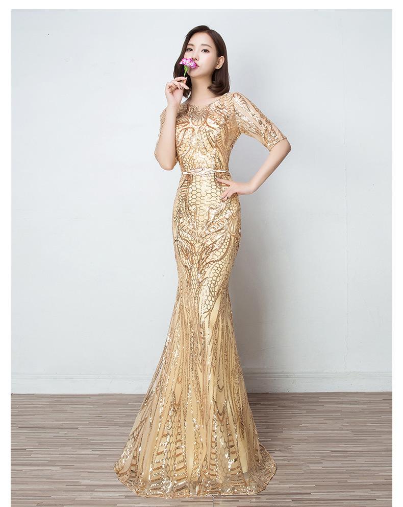 Wfn33 Elegan Lengan Pendek Prom Dress Wanita Gaun Malam Formal Buy