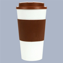 colors thermal inslated coffee tea cup plastic disposable, travel mug cup with silicon grip 450ml portable