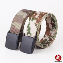 Various Colors Mixed Custom Logo Military Canvas Belt with Plastic Buckle