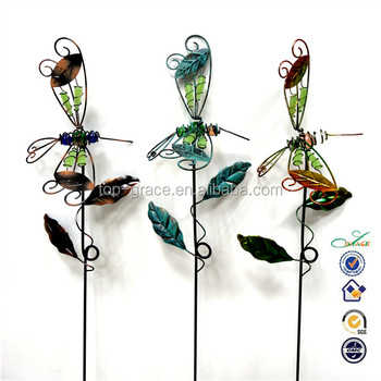 Decorative Metal + Stained Glass Dragonfly Garden Stakes