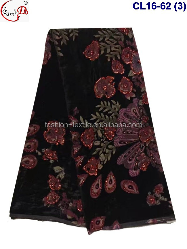 Factory Directly -Selling Big embroidery flower African velvet silk for fashion dress