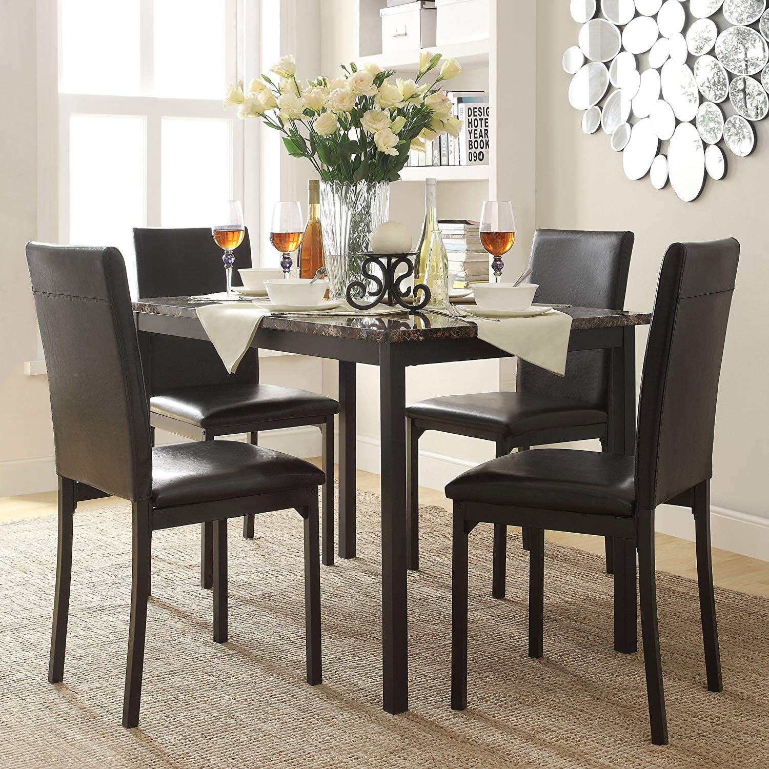 Faux Marble Table And 4 Faux Leather Upholstered High Baack Chairs, 5 Piece Dining Set, Contemporary Style, Functional, Ideal For Dining Room, Kitchen, Bistro, Black Color + Expert Guide
