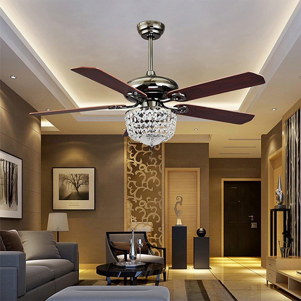 Get Quotations Rs Lighting The Ceiling Fans Art Decoration K9 Crystal 42 Inch Retractable Blades Fan