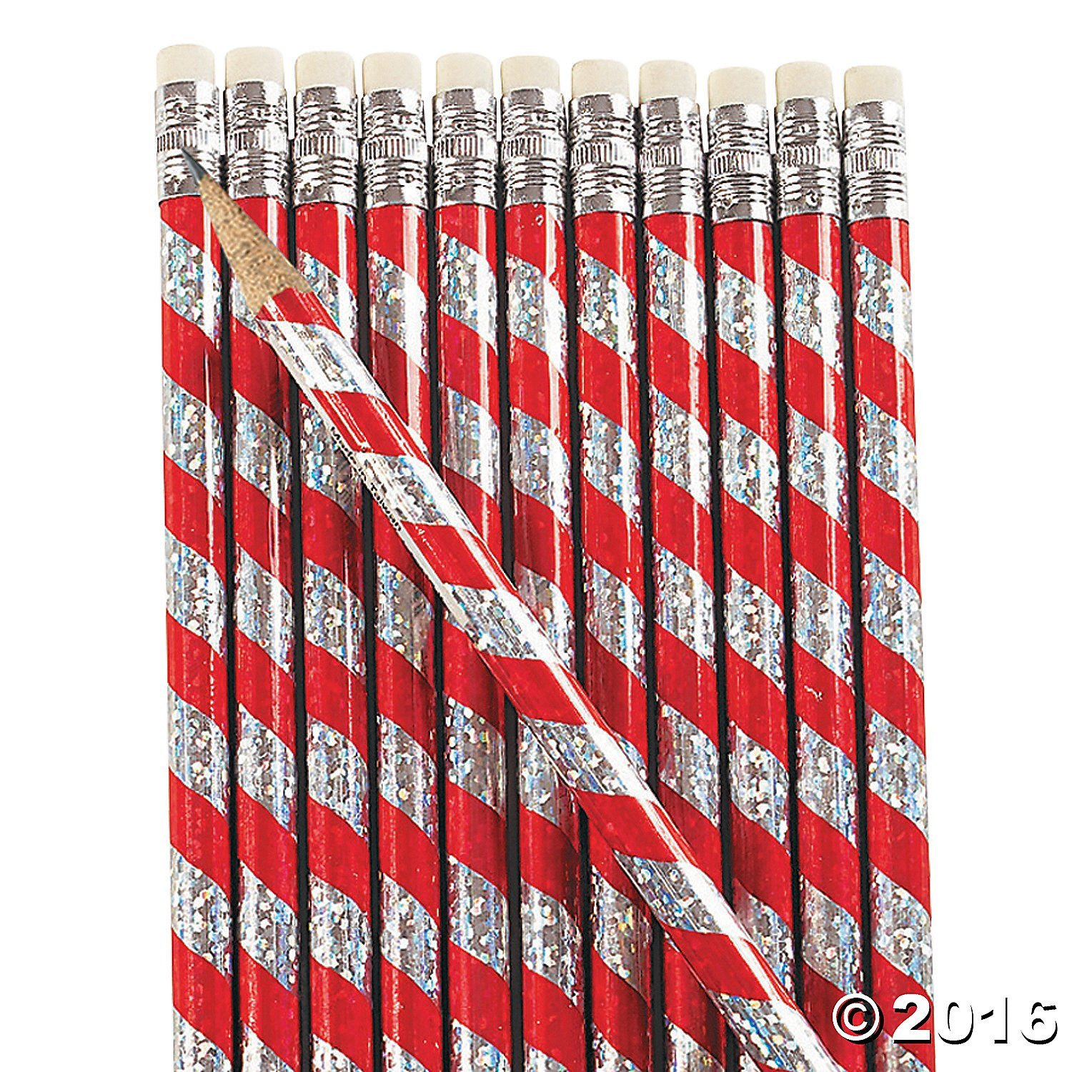 24 Wooden Christmas Prism Candy Cane Pencils/Christmas Stationery/Classroom Supplies/Stocking Stuffers