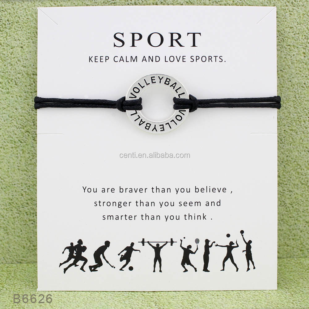 volleyball sport bracelet custom logo engraved circle ring charm bracelet wax cord bracelet