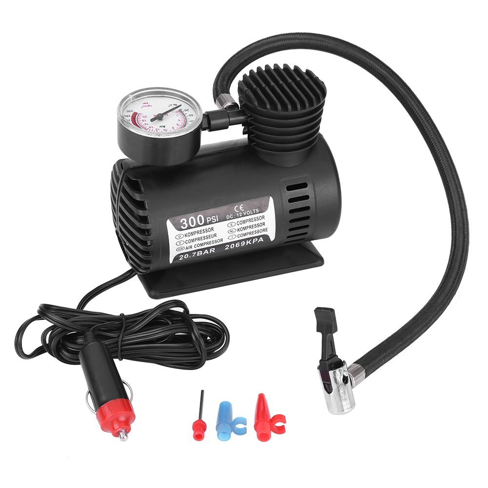 Delaman 12V 300 PSI Portable Emergency Mini Air Compressor Electric Car/Motorcycle Tire Infaltor Pump