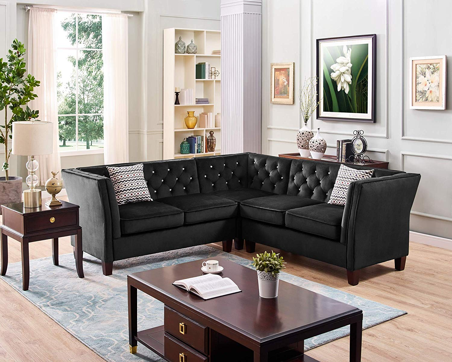 Sectional Sofa with Chaise and Ottoman 4 Pieces Set Modern Velvet Tufted Button (Black) 2019 Model by Bliss Brands