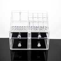 Acrylic Makeup Organizer Large Drawer Countertop Cosmetic Jewelry Storage Display Boxes 2 Pieces Set