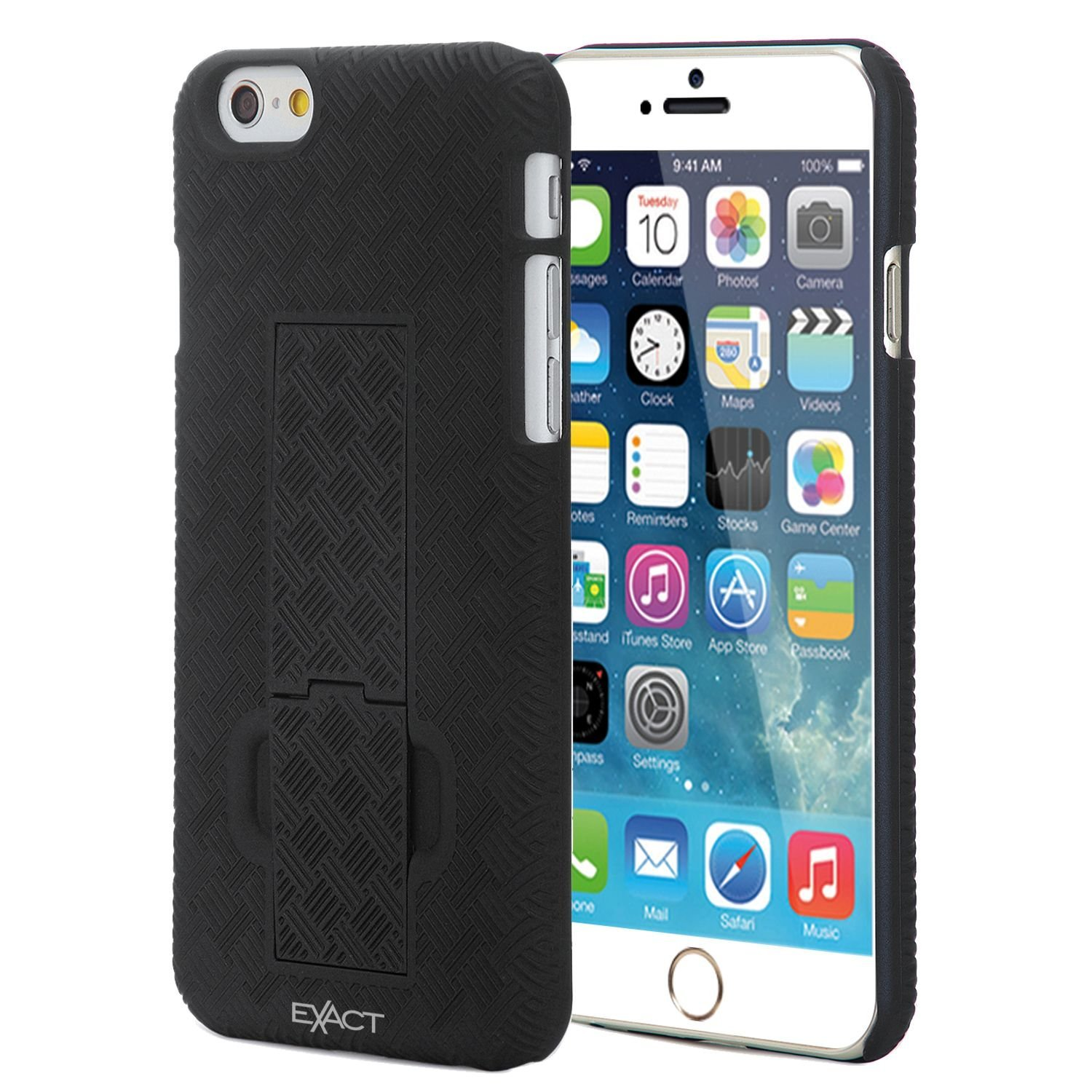 iPhone 6 Plus Case - Exact Apple iPhone 6 Plus 5.5 Case [KickDRAW Series] - Slim Kickstand Shell Case With Swivel Holster for Apple iPhone 6 Plus (5.5-inch) Black