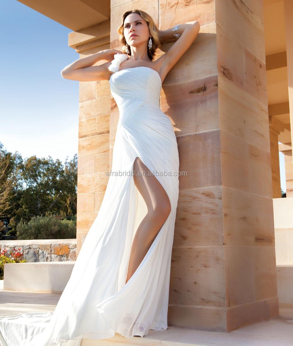 Royal blue chiffon one shoulder bridesmaid dresses with side split - Sd1066 One Shoulder Simple Chiffon Beach Wedding Dresses Side Split Front Slit Wedding Dress