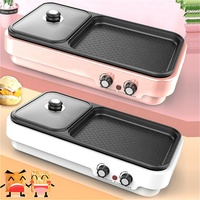 No smoking electric BBQ grill with hot pot pan