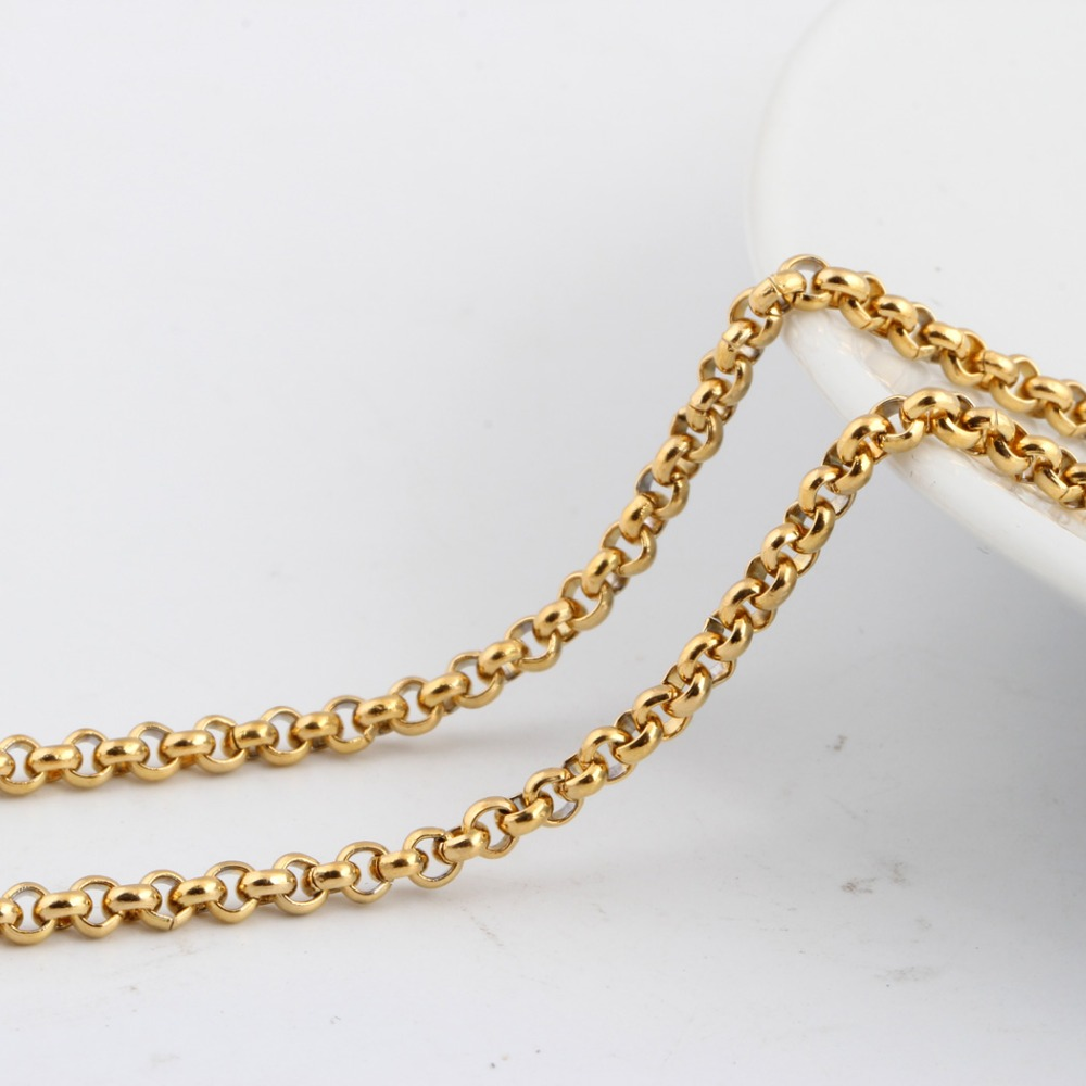 Zhongzhe Jewelry Stainless Steel 18K Gold Plated Necklace Mens Womomens Rolo Chain, 18-36 Inches