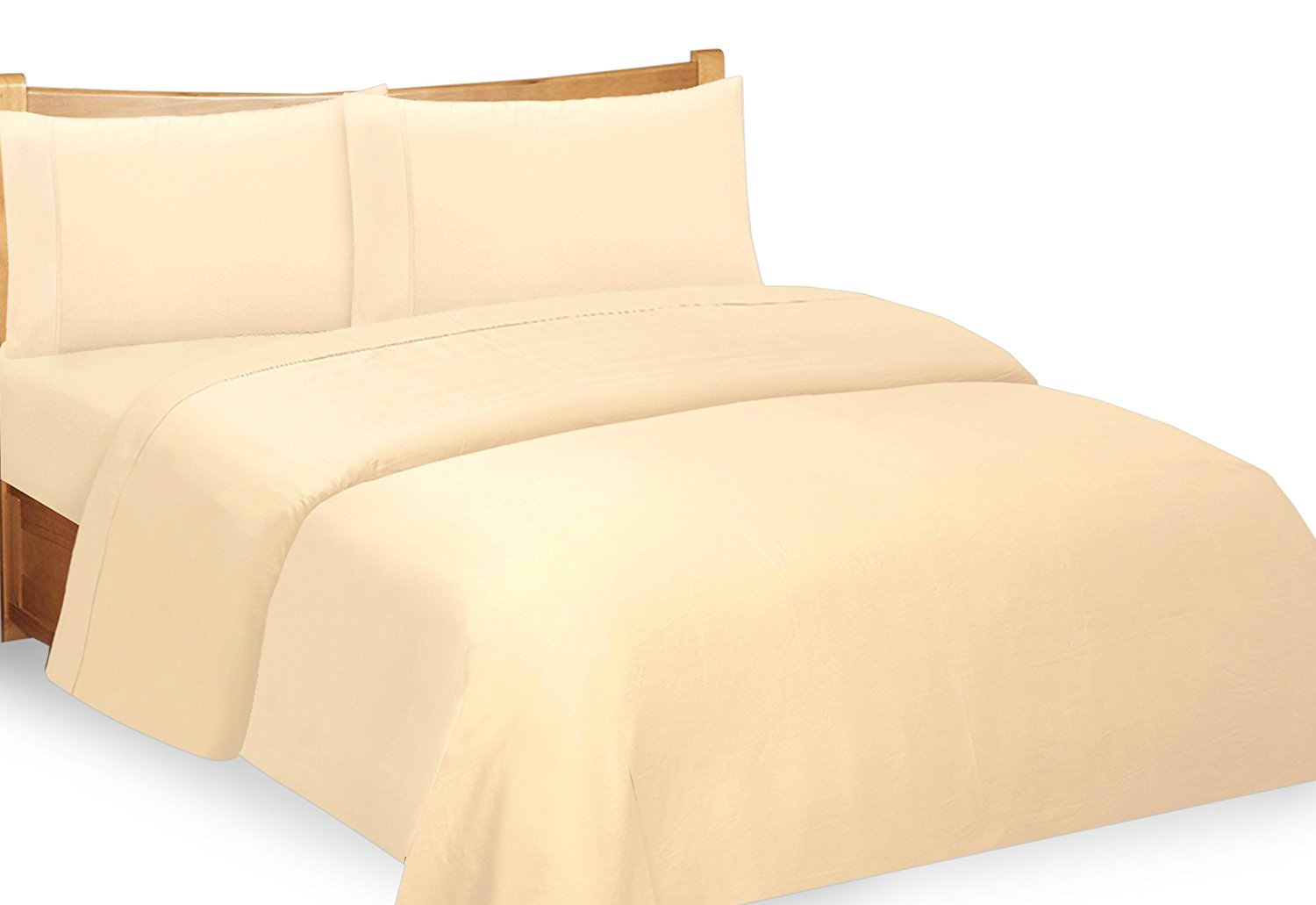 Bonne Nuit 500 Thread Count Hotel Collection Luxury Bedding Bed Sheets - Bestseller- Super Sale 100% Cotton Sateen - Wrinkle Resistant Sheet Set-Queen Size Solid Ivory Color