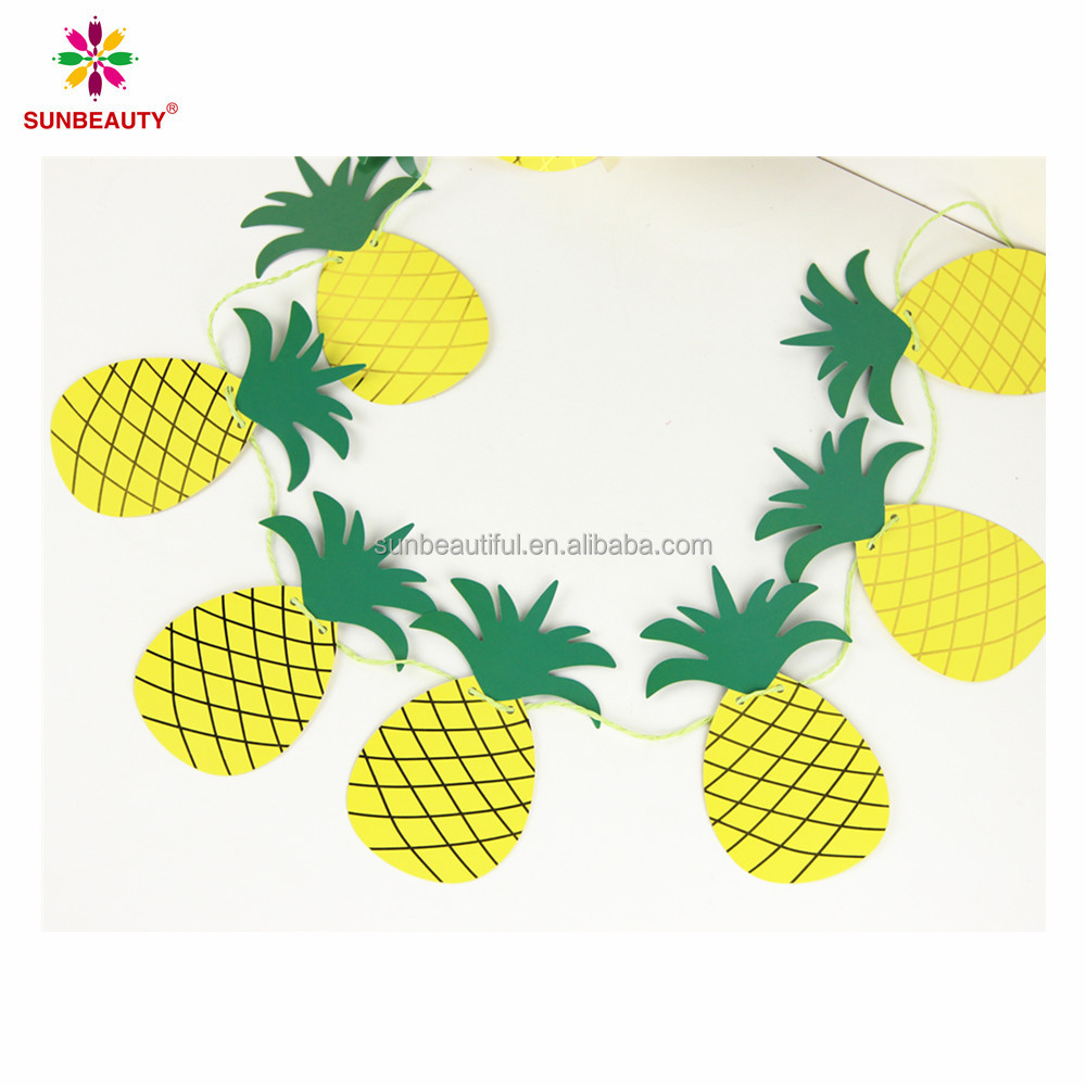 8 PCS Gold&Green Glitter Pineapple paper bunting banner for home decoration