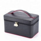 Luxury sublimation waterproof leather makeup bag with mirror