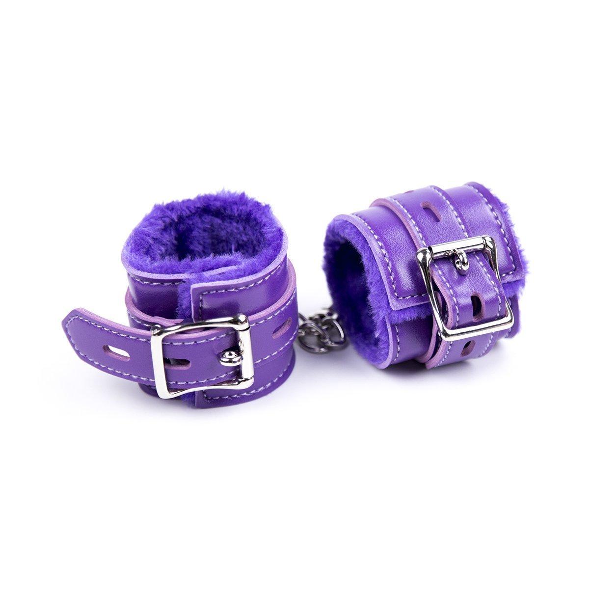 LCC Leather Bondage Restraints Fuzzy Wrist Cuffs Soft Handcuffs