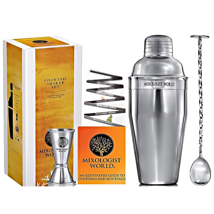 Stainless Steel Cocktail Shaker Mixer Drink Bartender Martini Tools Bar Set Kit With Ice Bucket