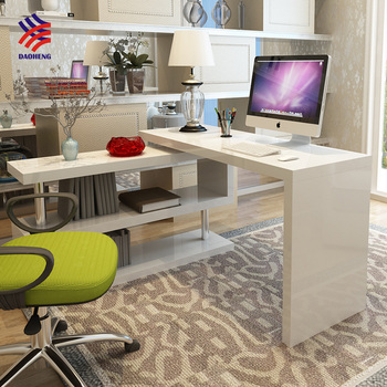 Hot High Cl White Gloss Office Counter Study Table Computer Desk