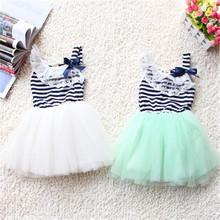 Meninas Do Bebê verão de Algodão Vestidos Sem Mangas Lace Bow-knot Listrado Vestido Tutu 1-4Y Bubblet