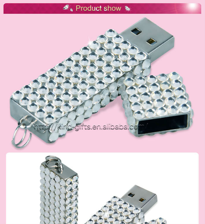 bling rhinestone inlaid round shaped crystal element usb 3.0 flash drive