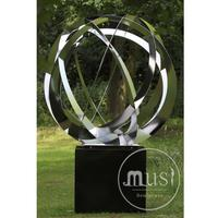 large outdoor abstract modern stainless steel sculpture of a balloon