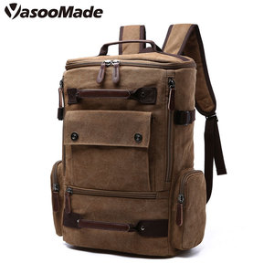 YasooMade vintage canvas custom school camping travelling hiking backpack