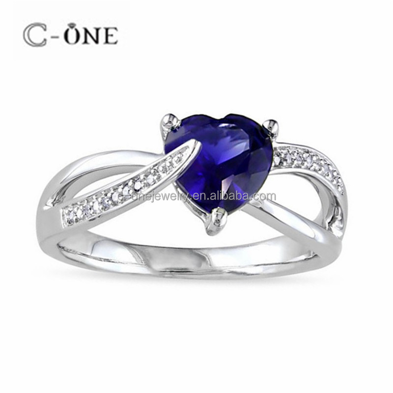 Sapphire CZ Heart Shape Ring Latest Wedding Ring Designs New Model