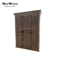 french country oak solid wood wardrobe with louvered doors 3 door bedroom wardrobe design