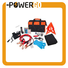 Roadside Assistance Car Emergency Kit + First Aid Kit Rugged Tool Bag Contains Jumper Cables, tools, Reflective Safety Triangle