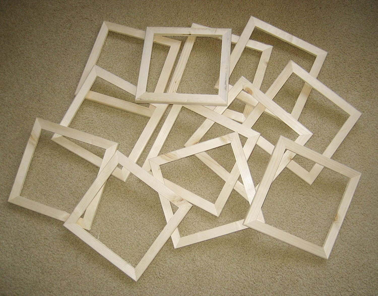 12 unfinished 8x8 rough cut wood picture frames