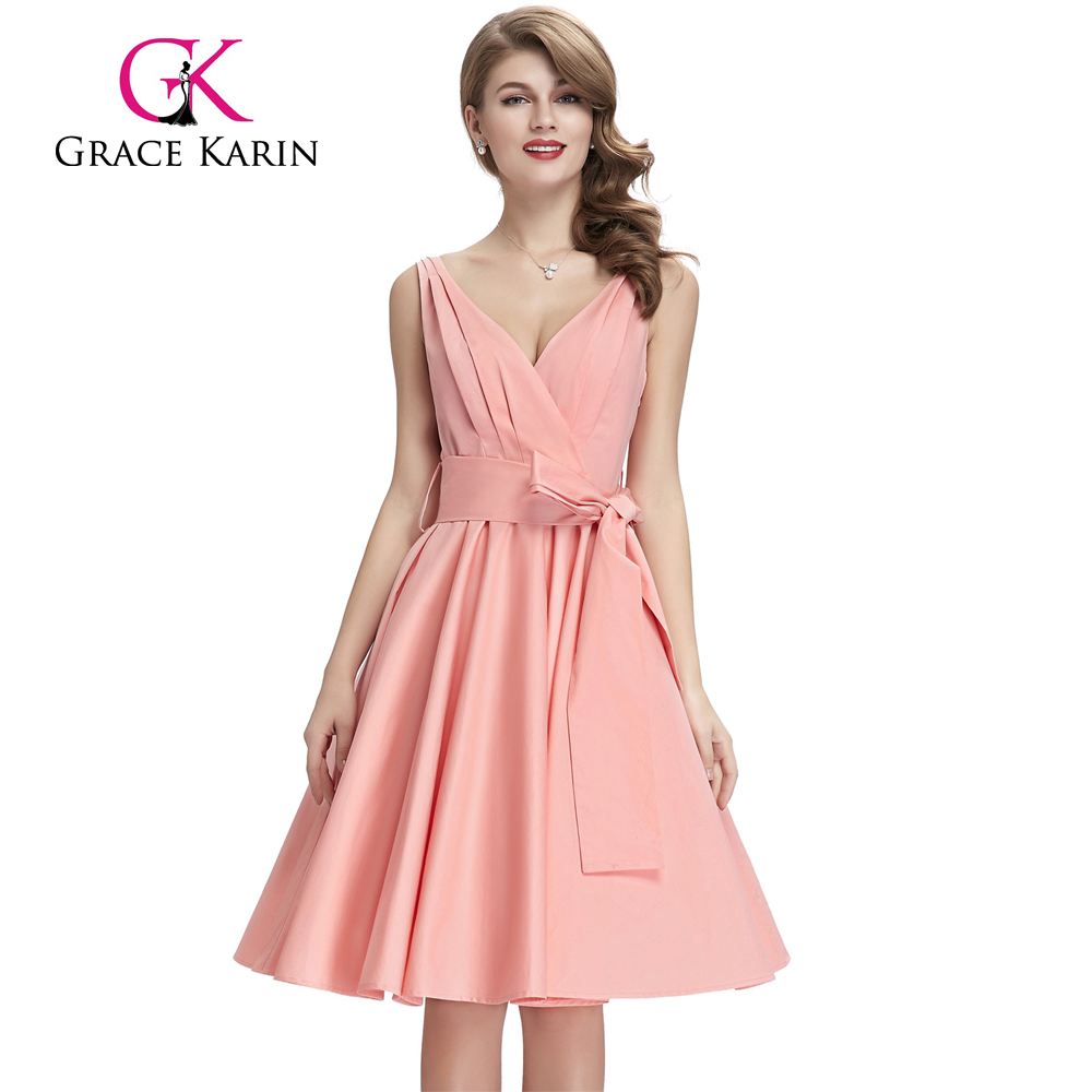 Grace Karin Sleeveless Deep V-Neck Pink Vintage Retro Cotton Dress CL008955-3
