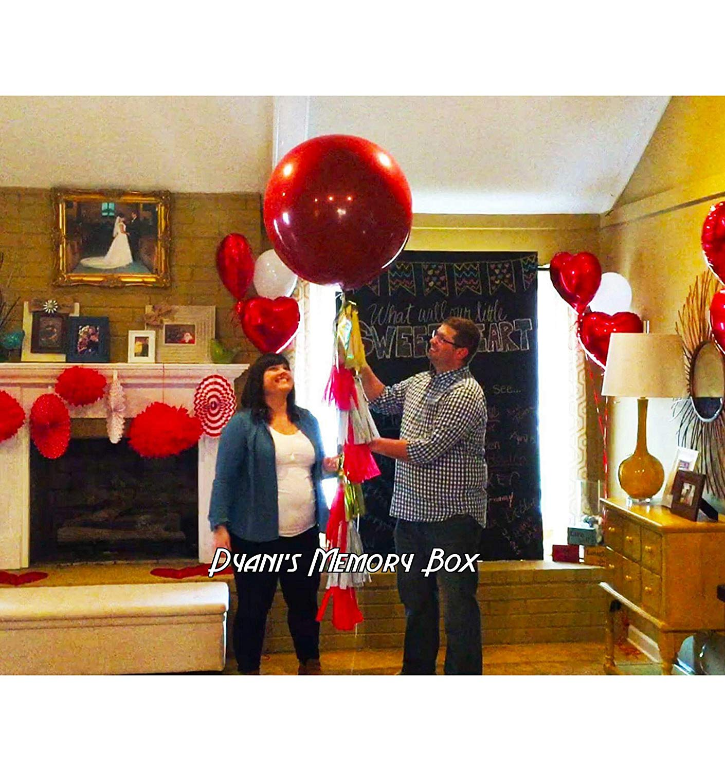 "Confetti Filled -Red Gender Reveal Balloon / Valentines Balloon / 36"" Red balloon"