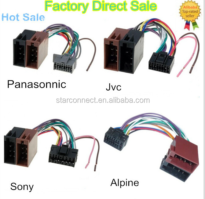 HTB1vrscHpXXXXXPapXXq6xXFXXXv replaceable alpine 16 pin black auto electric car iso audio wire male to female wiring harness at gsmx.co
