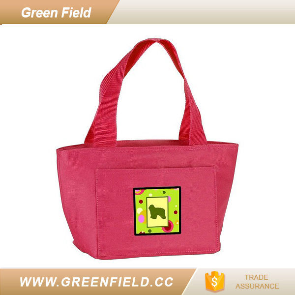 eco-friendly pink canvas tote bag camping insulated lunch cooler bag