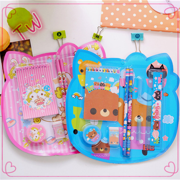 korean stationery wholesale cartoon cute wooden pencil set ,free sample high quality mini stationery sets promotional