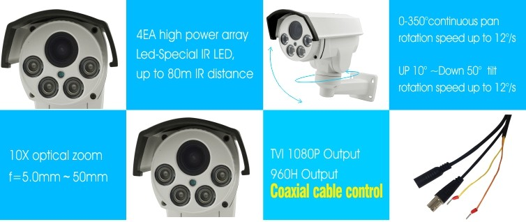 1080P PTZ Bullet 10X Zoom Mini Camera Night Vision 80m With IP66 Waterproof