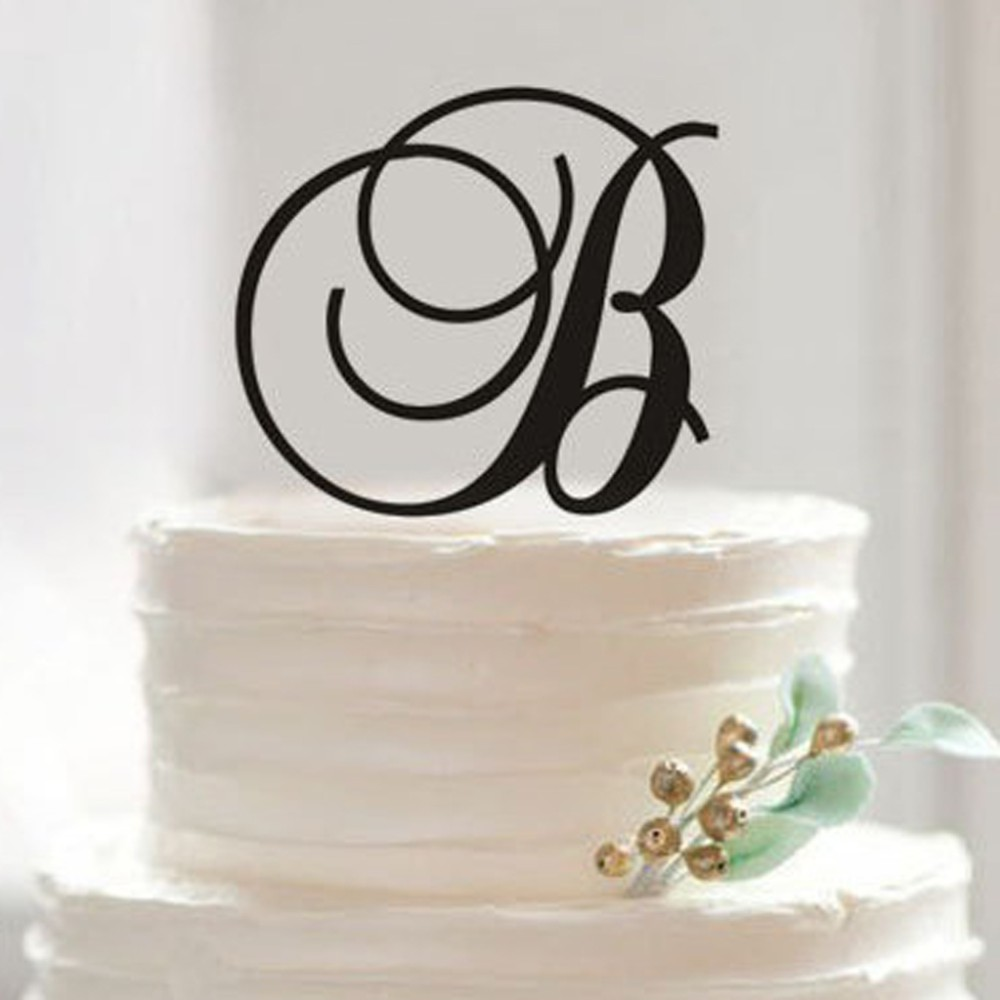 Stupendous Personalized Monogram Letter B Cake Topper Acrylic Cake Topper For Funny Birthday Cards Online Overcheapnameinfo