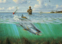 Fisher Fishing Rod And Big Fish Oil Paintings On Canvas
