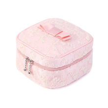 Fashion Pink Lace Jewelry Earrings Box Collection of Creative Jewelry Organizer Portable Satin Drawstring Travel Jewelry Bags