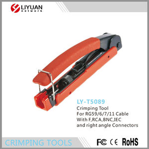 LY-T5089 Network LAN Cable Wire Cutter Crimp Tool F,RCA,BNC,IEC and right angle Connectors