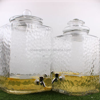 5 gallon 18 liter huge square glass drinking beverage dispenser with tap wholesale