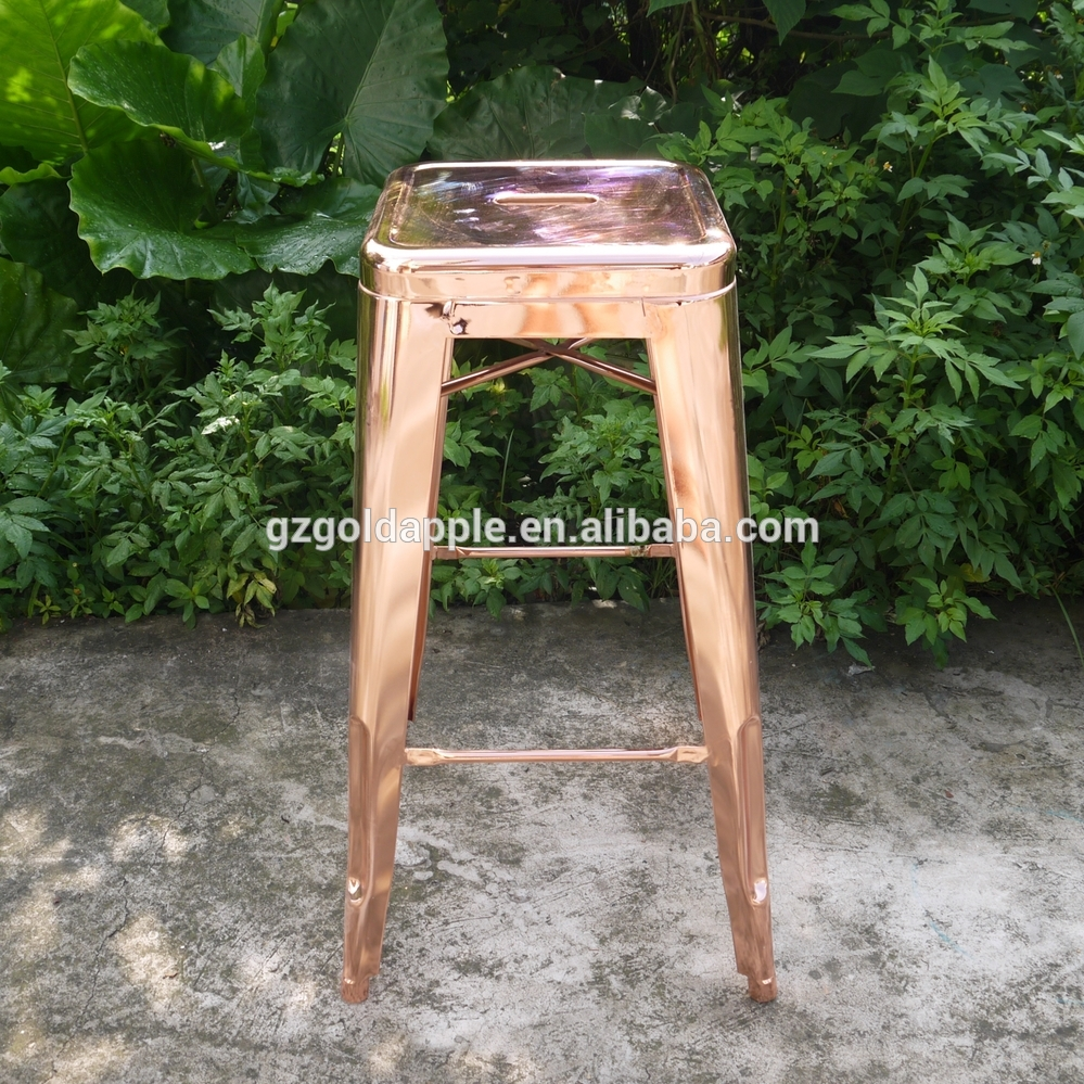 china industrial french style outdoor rose gold metal bar stool