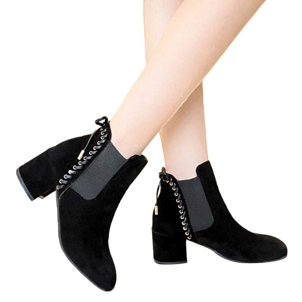 d352d61c34f Get Quotations · Gyoume Mid-High Ankle Boots Shoes Women Dress Shoes Witer  Martain Boot Tassel Zipper Boots