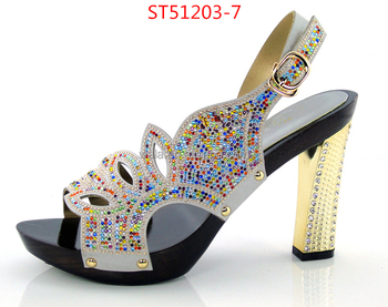 Sandals For Party ST51203 7 Silver Colorful Rhinestone Sexy Shoes Peep Top Shoes  Bride Shoes