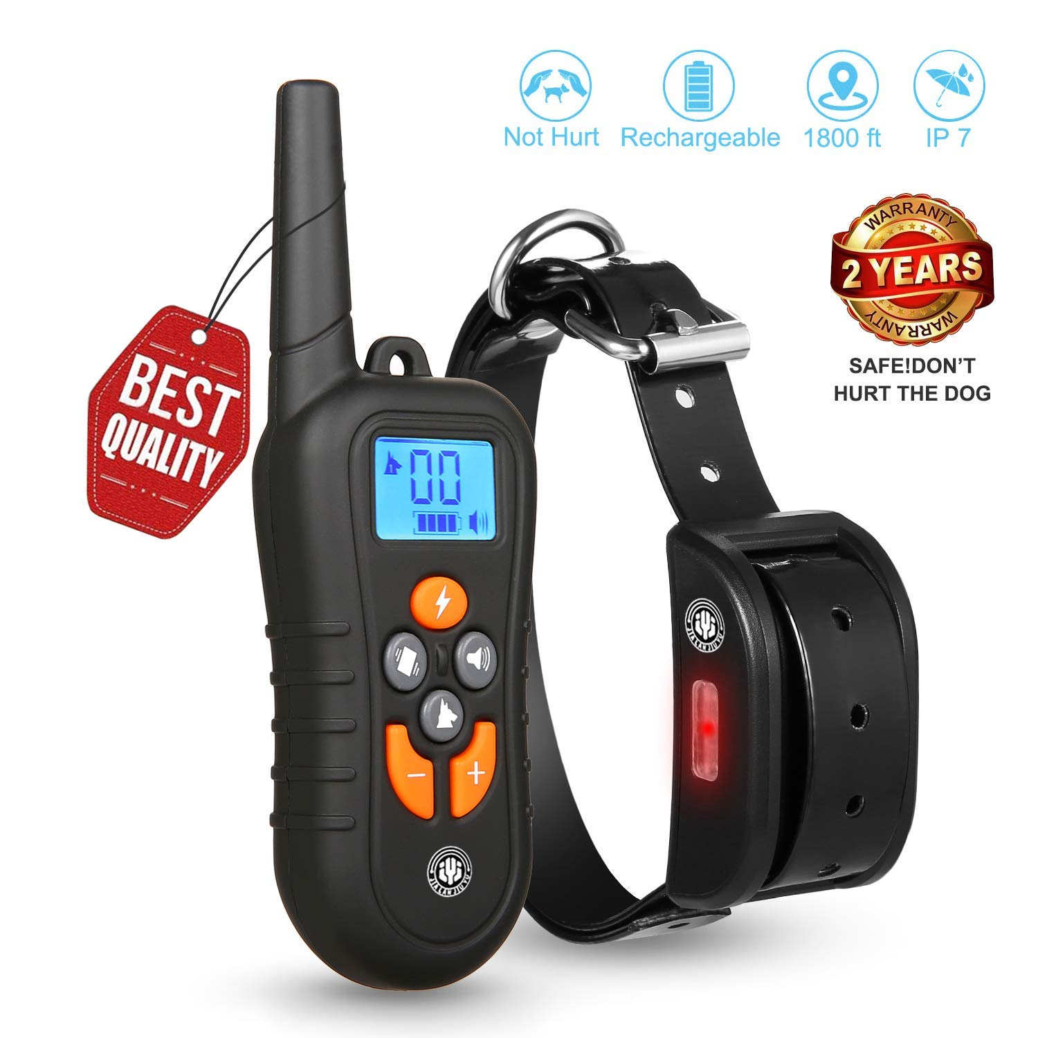 JIALANJIUYU Dog Training Collar,Training Collar for Dogs, NO Hurt and Rechargeable and IP7 Level Waterproof with 1800FT Remote Beep/Vibration/Shock Electronic Collar Modes for Small Medium Large Dogs
