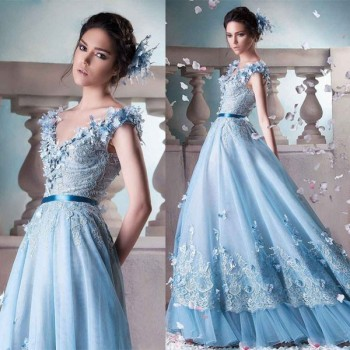 Sky Blue Liqued Lace Silk Ball Gown Wedding Dresses Pictures